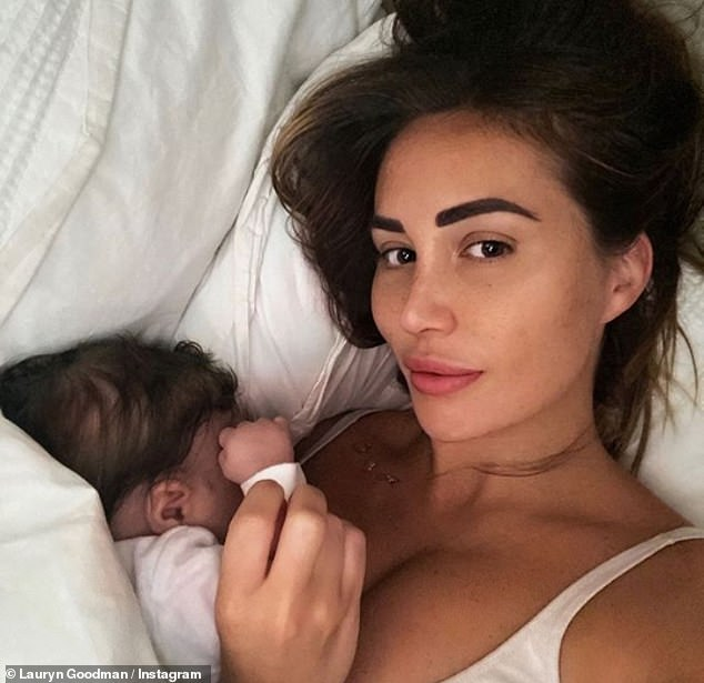 My boy: Taking to Instagram on Tuesday, the model, 29, confirmed her name and gender and gushed all over it alongside an image showing her Junior crib