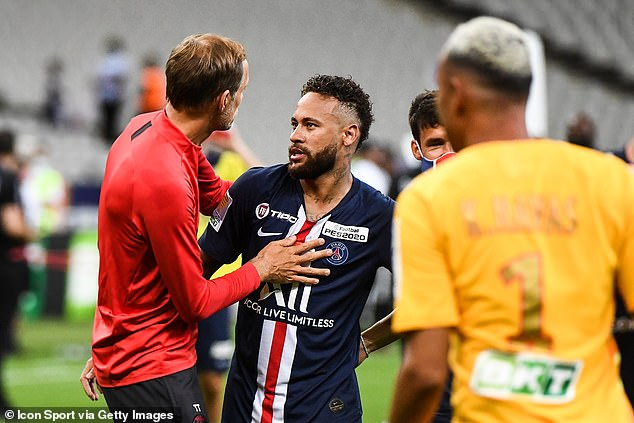 Tuchel (left) will be hoping that Neymar (right) will be able to step up in Mbappe's absence