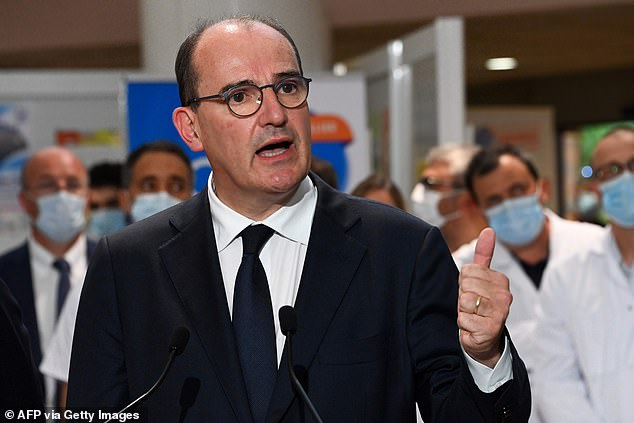 France's prime minister Jean Castex (pictured at a hospital in Montpellier this week) has told his citizens to 'pull themselves together' amid a fresh surge in coronavirus cases in France