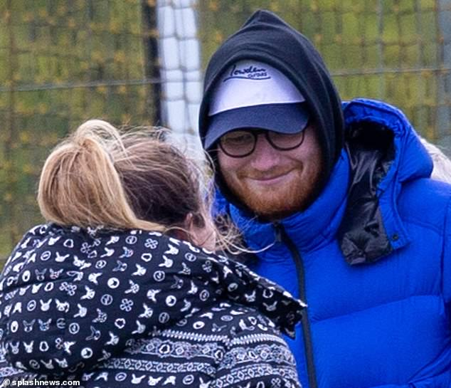 Sweet: Ed was on the sidelines as Cherry appeared at the hockey club