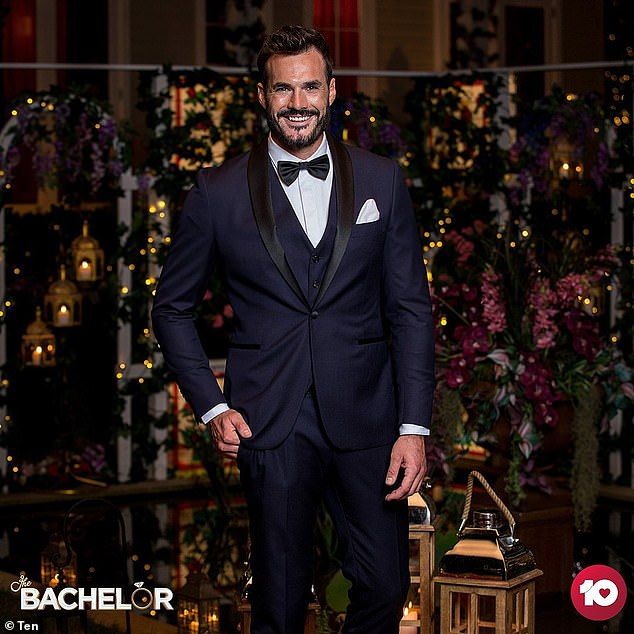 Dashing: Locky looked dashing in a navy three-piece suit and viewers were quick to express their thoughts on his hunky looks