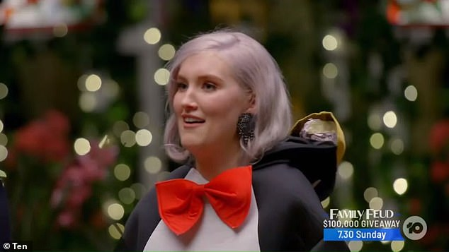 Contestant Rosemary stepped out of the car in a penguin suit