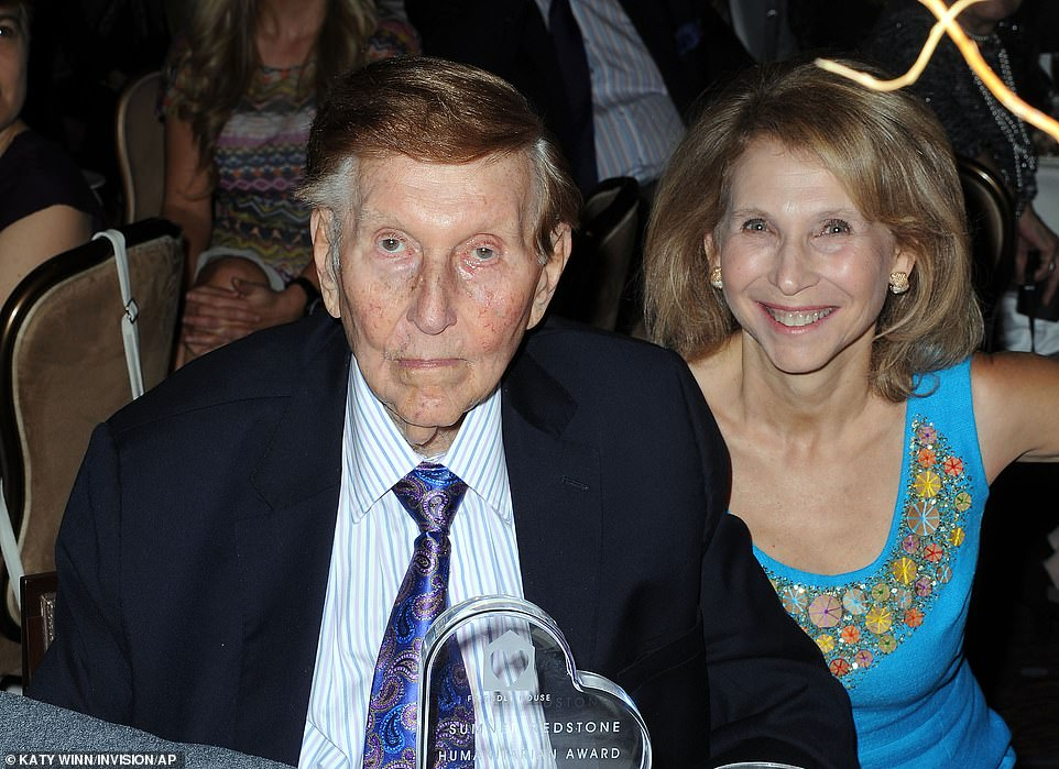 Redstone's legal battles with ex-loversreunited him with his daughter Shari (right), from whom he had been estranged