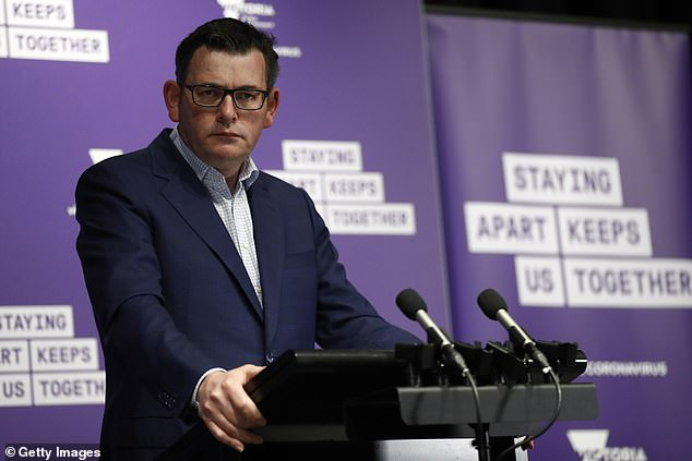 Victorian Premier Daniel Andrews speaks to the media at the daily coronavirus briefing in Melbourne, Australia,on August 12, 2020. Wednesday saw the deadliest day on record for the region, with410 new cases and 21 deaths reported over a 24-hour period.