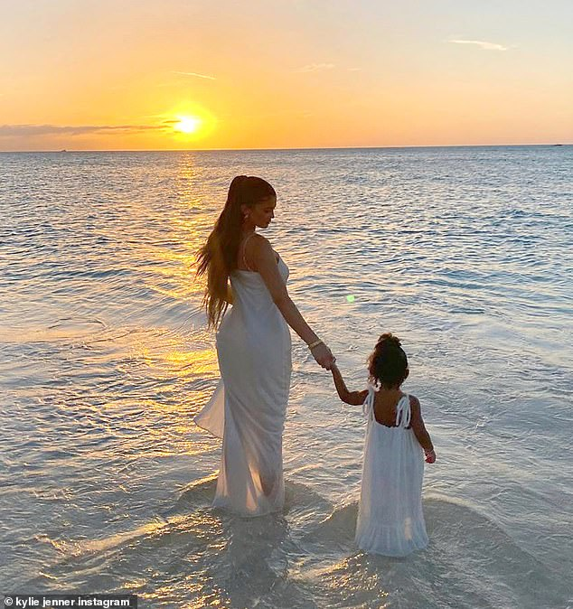 Nature's beauty: Earlier on Wednesday, Kylie had mini-me daughter Stormi, two, at her side during a breathtaking visit to the beach