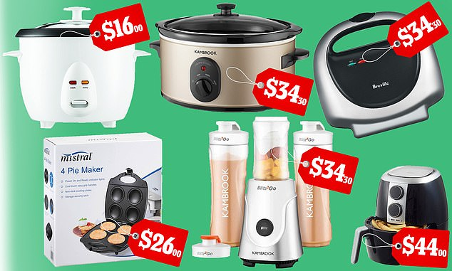 Supermarket giant Woolworths has launched a huge sale on popular kitchen gadgets - including air fryer, pie maker, slow cooker, blender, rice cooker and sandwich maker