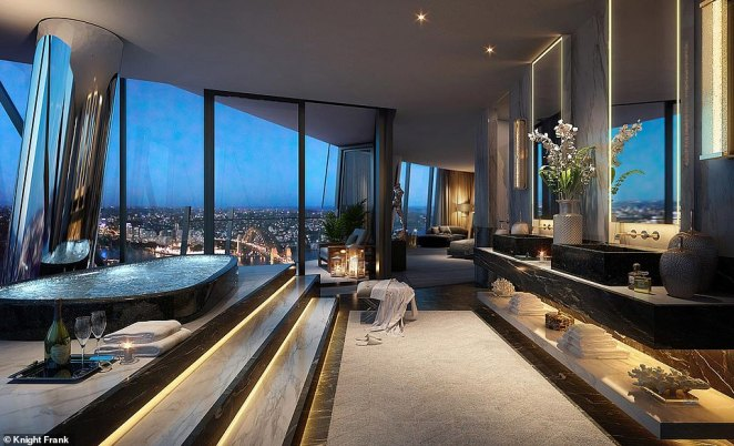 The penthouse is located at Barangaroo at Sydney Harbour and features incredible views of the surrounding city. Pictured is an artist's impression of Crown Casio apartments showing a bathroom and living areas