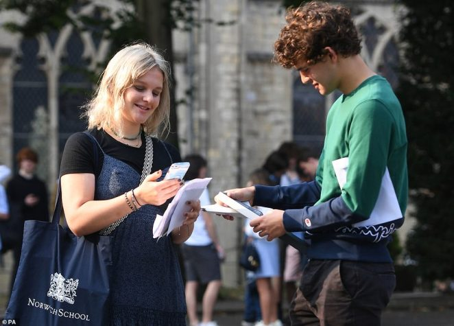 Twins Rosy (left) and Teddy Valentine (right) react as students at Norwich School receive their A-level results this morning