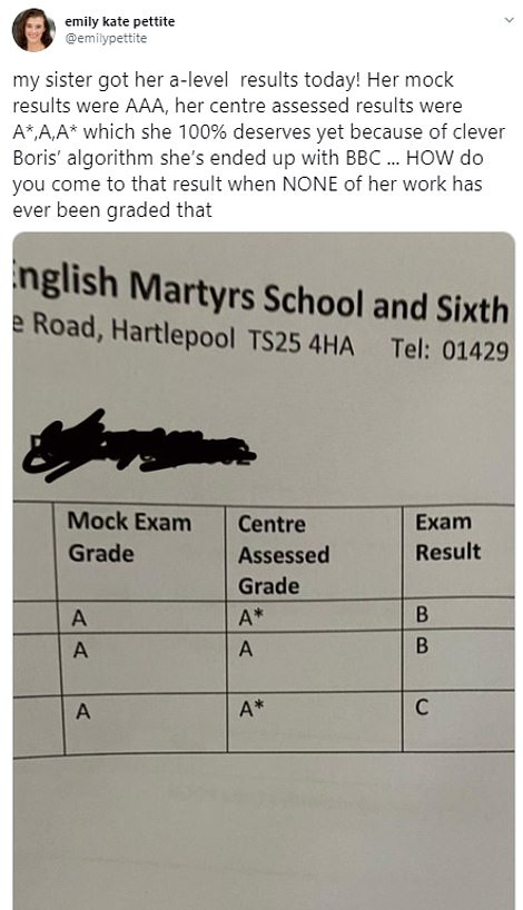 Emily Kate Pettite from London tweeted that her sister had mock results of AAA but ended up getting BBC in her exams