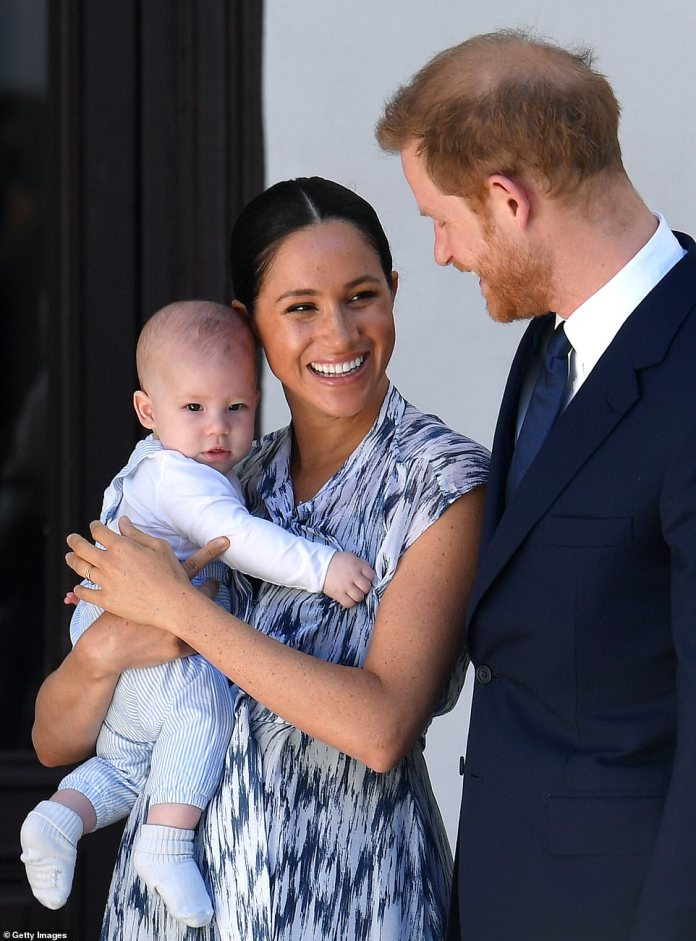 The Sussexes have been living in the Montecito home for six weeks. They are pictured above with Archie in September last year