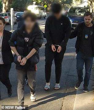 Nine males (two pictured) aged from 17 to 20 were arrested on Thursday and eight were charged over the horrific incident