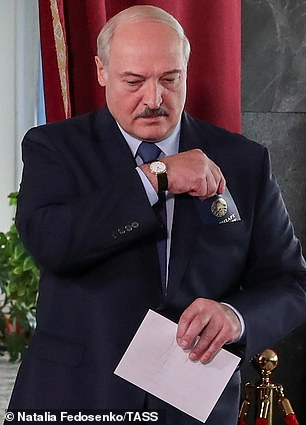 Alexander Lukashenko, who has ruled since 1994, casts his vote in the election