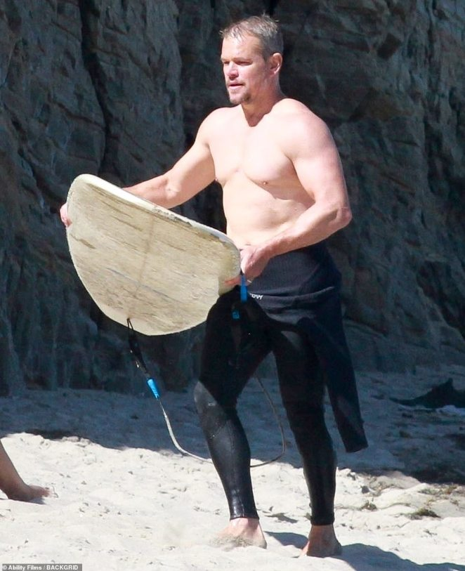 Fun in the sun: Matt Damon was looking forward to the ocean as he visited the beach in Malibu with family on Wednesday