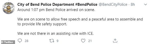The Bend Police Department confirmed they had been called to the scene to help control crowds, but were not involved in the ICE operation