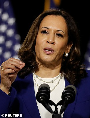 Democratic vice presidential candidate Senator Kamala Harris speaks at a campaign event. She was among the 10 senators to sign the College Athletes Bill of Rights