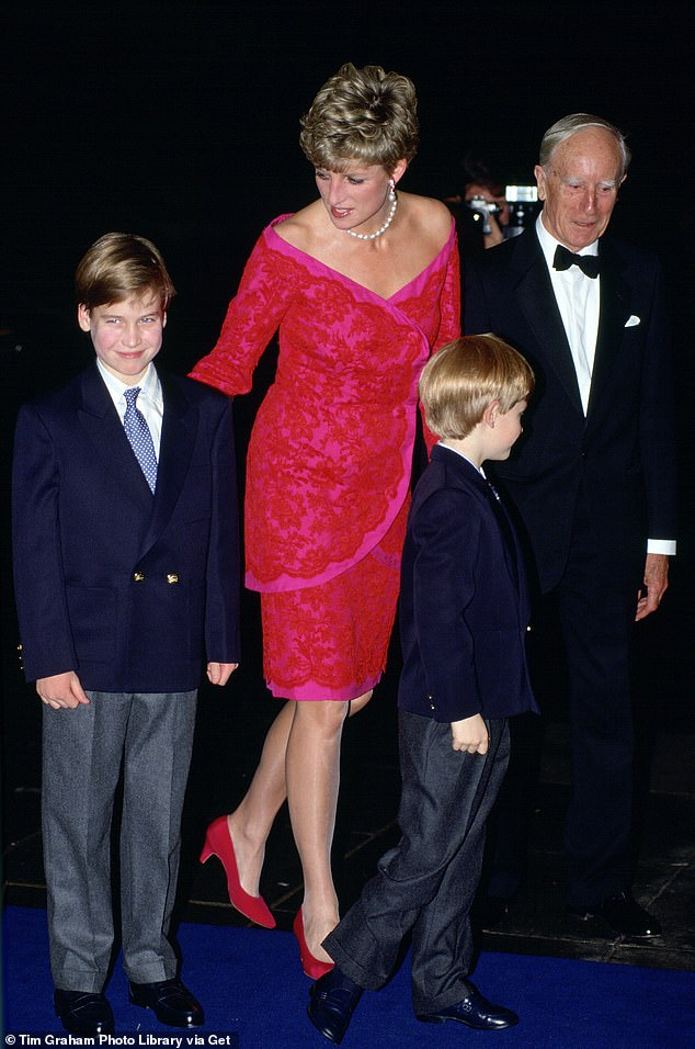 Diana, Princess Of Wales, with Prince William and Prince Harry, at The Royal Albert Hall to raise money for Thee Royal Marsden Hospital At The Royal Albert Hal. The documentary explores how her sons have followed in her very charitable footsteps