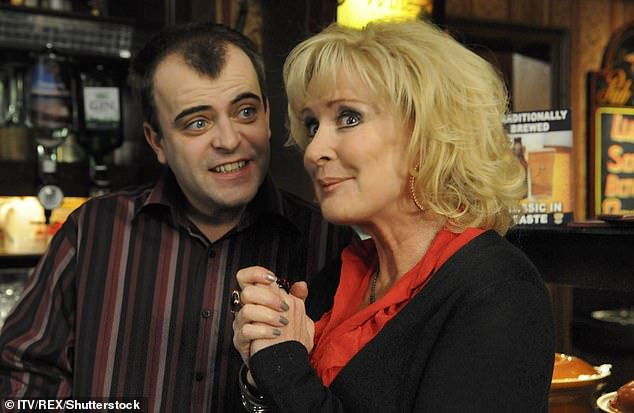 'Hell': However, her plans to continue on the show were scuppered by the operation, with the star explaining the pain in the aftermath was 'absolute hell' (pictured with onscreen son Steve in 2010)