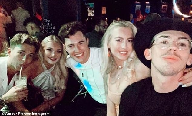 Denied: Amber (pictured center right) and Curtis (pictured center) called allegations of their alleged affair 'complete lies' despite their recent date
