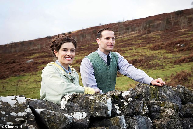 A first look at the reboot of the much-loved series All Creatures Great and Small promises a heart-warming romance blossoming between the two main characters. Pictured: Helen Alderson (played by Rachel Shenton) and James Herriot (played by Nicholas Ralph)