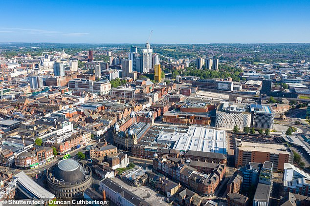 Aerial drone photo of the Leeds Kirkgate Market.Residents of Leeds top the list in terms of individual CO2 production, with each person generation 106 times their own volume in the greenhouse gas every day
