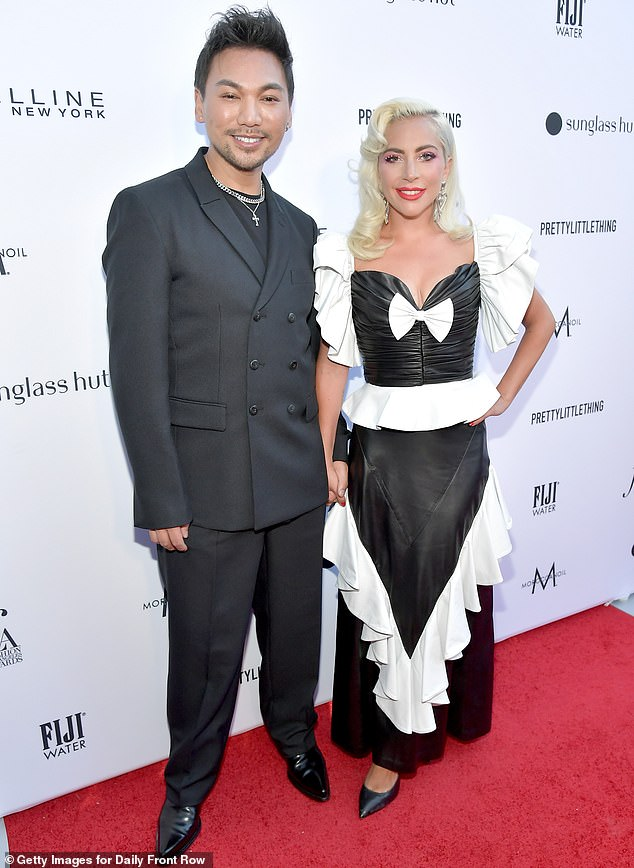 Side by side:he hair color was 'Suzie's Ocean Blonde' in honor of the late mother of her longtime hairstylist Frederic Aspiras; Gaga and Frederic are pictured last year