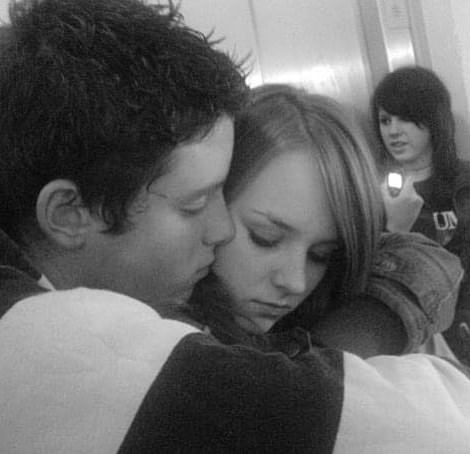Tender moment: The couple aged 17 after joining college together