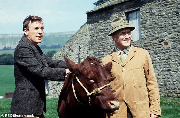 The old days: Actors Christopher Timothy and Robert Hardy are pictured on set in 1979, when playing the vet and his boss