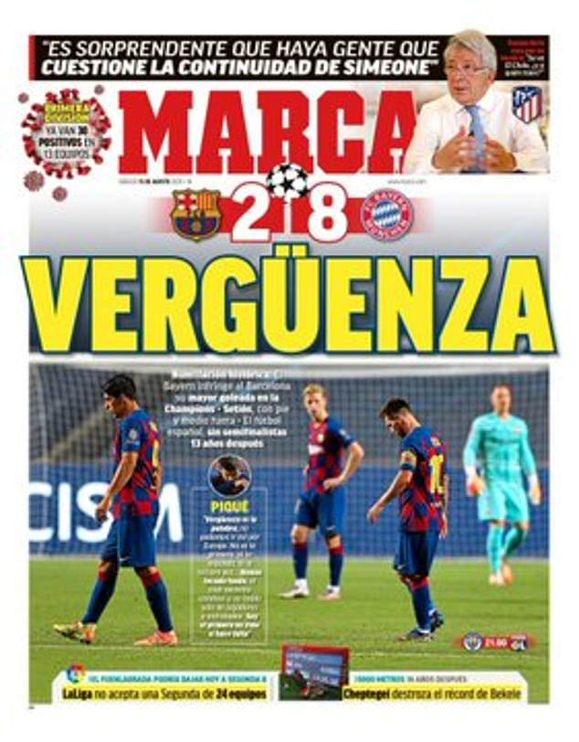 Marca splashed the word 'shame' across their front page after the club's record European loss