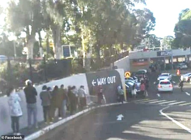 Dozens of people are seen queuing to get into Aldi (pictured) at North Rocks, NSW, hoping to get their hands on some 'Special Buys'