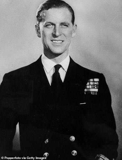 The Duke of Edinburgh (Lieut, Philip Mountbatten) pictured in naval uniform