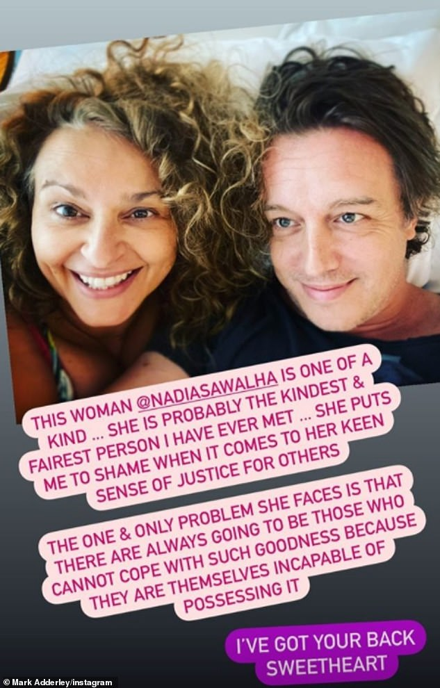 Supportive spouse:Nadia's husband Mark Adderley also shared a supportive message to his wife on Instagram, posting a loved-up selfie, he insisted that he 'has her back'