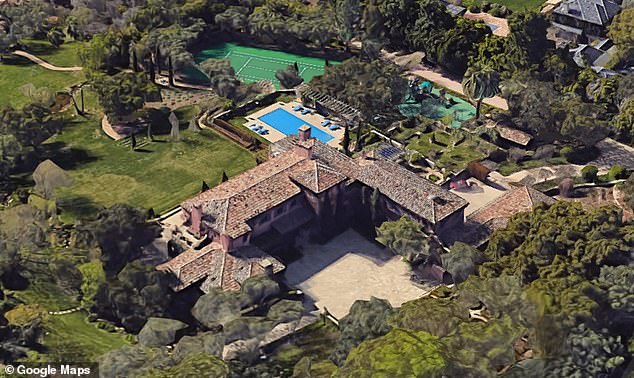 The home was built in 2003.The estate has sweeping lawns, tiered rose gardens, tall Italian cypress trees, blooming lavender, century old olive trees, a tennis court, tea house, children's cottage and a pool