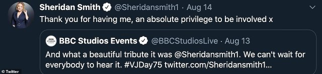 Thank you:Quoting a tweet from the BBC, Sheridan wrote: 'Thank you for having me, an absolute privilege to be involved x'
