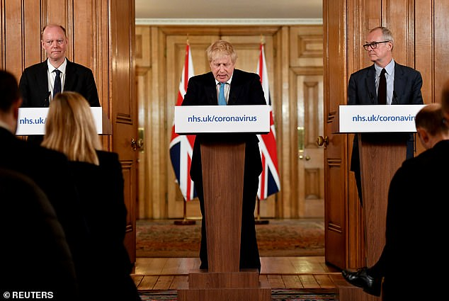 In February, at the outset of the current crisis, the Government was warned in clear terms by its scientific advisers that aggressive isolation policies would 'merely push all transmission to the period after they are lifted, writes LORD SUMPTION. Pictured: Britain's Prime Minister Boris Johnson (C), Britain's Chief Medical Officer Professor Chris Whitty (L) and Chief Scientific Adviser Patrick Vallance speak during a coronavirus news conference, March 19