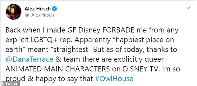 Alex Hirsch, who created Disney's Gravity Falls, said that he had previously been forbidden to include any LGBTQ references in the show. Terrace once worked on Gravity Falls