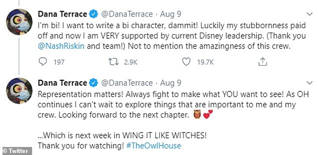 Terrace tweeted that she had originally been told not to include any LGBTQ relationships in the series, but that she fought to represent them