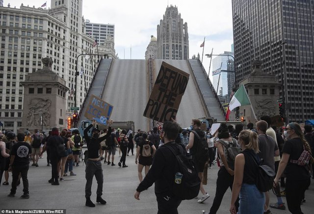 Drawbridges to the downtown of Chicago were raised, to prevent protesters from entering the central areas