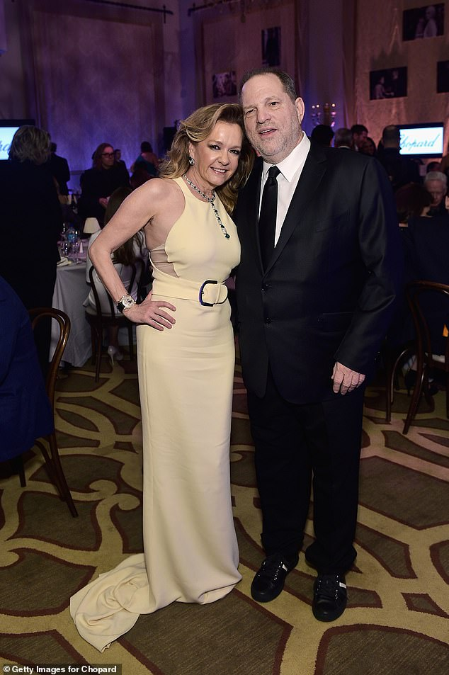 In the complaint, Gallas also claims she and Scheufele attended the 2018 Cannes Film Festival in 2018, where Scheufele spent time with since-convicted rapist Harvey Weinstein. Gallas claims she was 'revolted' by the media mogul. Scheufele and Weinstein are pictured in 2016 prior to him being accused of rape