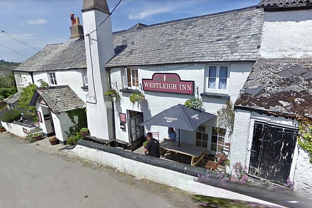 Pictured: The Westleigh Inn in Bideford, Devon, where landlady Steph Dyer has u-turned on offering the Eat Out to Help Out government incentive to protect her employees from 'physical and mental stress'
