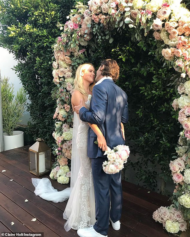 'I love you':Just weeks ago Claire gushed over her husband as they celebrated their two-year wedding anniversary