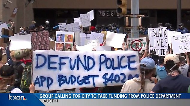 Protesters had been gathering in Austin demanding the defunding of the police department