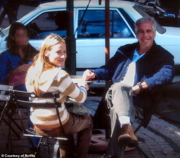 Davis was thrust into Epstein's (pictured together) inner circle when she was training to become a massage therapist at a college in Los Angeles.  She wakes up to meet Ghislin at the Four Seasons Hotel in Beverly Hills.  And just hours after meeting the now jailed socialite, Ghislin approached Davis and asked him to take a private jet to Epstein's Palm Beach home.