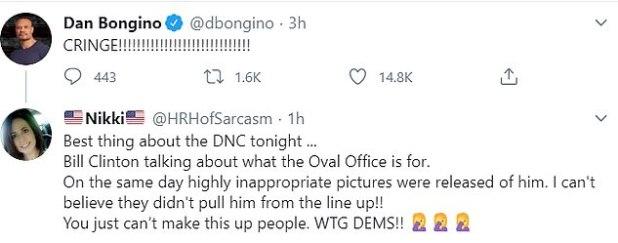 Dan Bongino, conservative podcast host, simply tweeted: 'Cringe.'