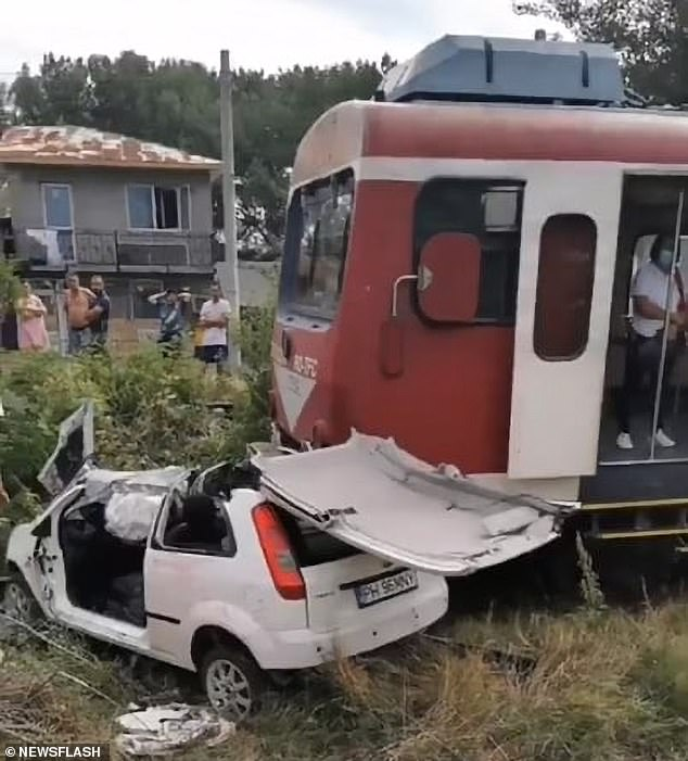 The train plowed the side of the white Ford Fiesta, ripping off the roof of the vehicle and crumpling the passenger side where the musician was sitting