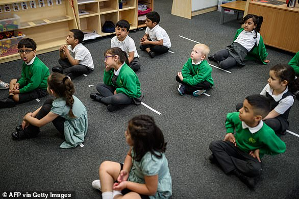 The government's SAGE experts suggested in May that children are at low danger from coronavirus but evidence on how they transmit the virus is 'inconclusive'. Pictured: Pupils atGreenacres Primary Academy in Oldham, northern England on June 18