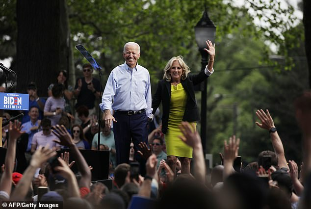 Philadelphia-native Joe Biden (left) and Jill Biden (right) greet a crowd of supporters in Philadelphia in May 2019 as the former vice president launched his presidential campaign