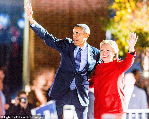 President Obama (left) appeared with 2016 Democratic candidate Hillary Clinton (right) on the last night of the 2016 campaign at an outdoor rally outside Independence Hall in Philadelphia, a few blocks away of where he will address the DNC 2020.