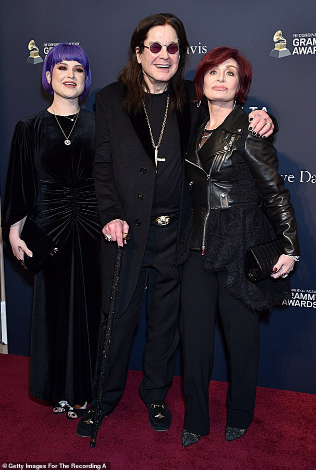 On the way to the screen: Meanwhile, Kelly's parents, Ozzy and Sharon Osbourne, pictured in January, prepare for a biopic that will lift the lid on the Black Sabbath rocker's life