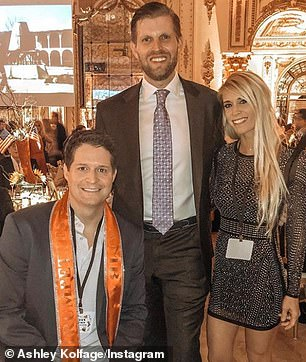 After returning from the war, Kolfage married Ashley - a former Chilli's waitress. They lived quietly until Trump's political victory, when they then became vocal supporters. The pair are shown with Eric Trump