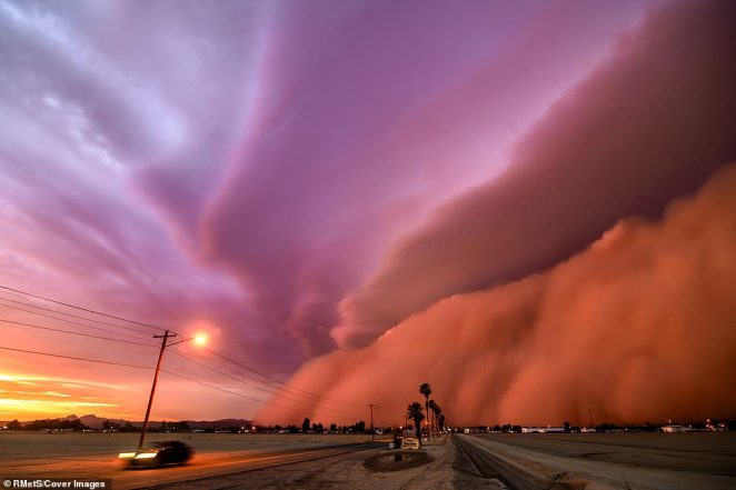 'This was one of the top two largest haboobs (dust storms) ever recorded in the state of Arizona. At the point of this photo it was fully mature, towering more than a mile high with winds in excess of 80 miles per hour. The sun was setting, giving the dust wall it's deep pink hue. It was a truly incredible sight to see,' said photographer Tina Wright from Arizona, US